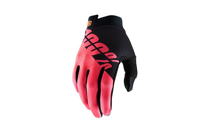 100% iTRACK BLACK/FLURO RED GLOVES