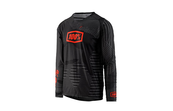 100% R-CORE-X DH LONG SLEEVE JERSEY BLACK CAMO 2018