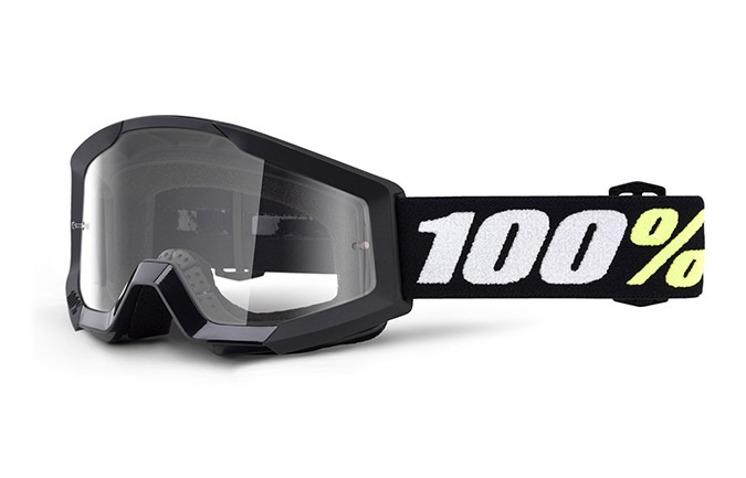 100% STRATA MINI BLACK GOGGLES - CLEAR LENS