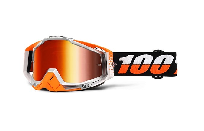 100% GOGGLE RACECRAFT ULTRASONIC MIRROR RED LENS