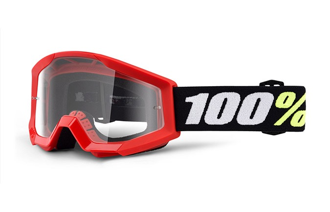 100% STRATA MINI RED GOGGLE - CLEAR LENS