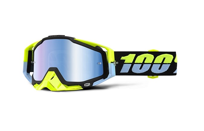 100% GOGGLE RACECRAFT ANTIGUA MIRROR BLUE LENS