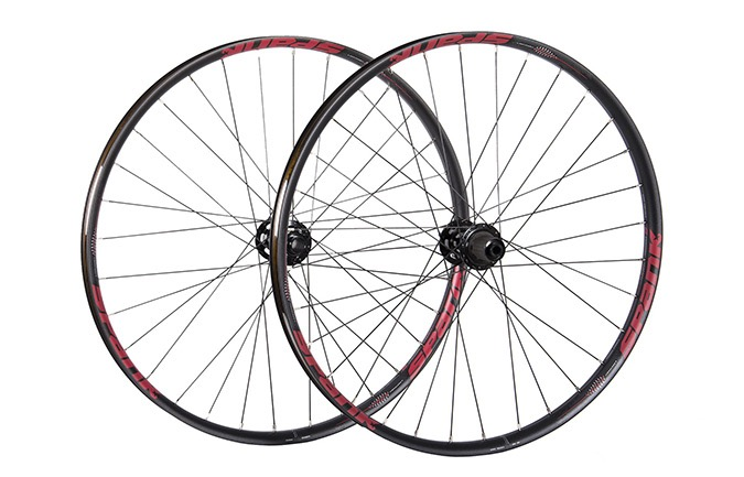 "SPANK SPIKE  350 VIBROCORE DH WHEELSET 29"" RED"