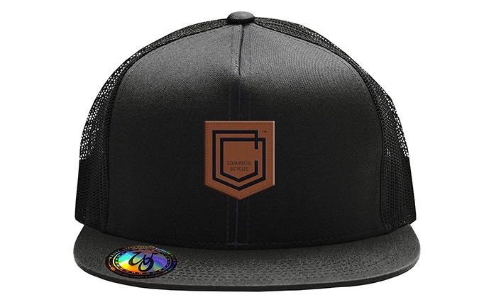 COMMENCAL SHIELD FLAT PEAK CAP BLACK LEATHER 2019